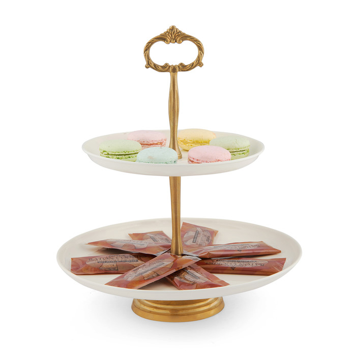Elan Two Tier Stand Brass Ivory With Ivory Serveware By Living With Elan