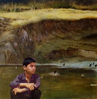 Deep River Valley by Suman Gupta, Realism Painting, Acrylic on Canvas, Brown color