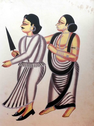 Kalighat Painting by Unknown Artist, Folk Painting, Watercolor on Paper, Brown color