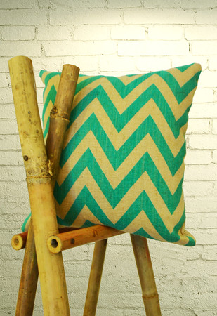 Jute Cotton Chevron Pattern Green Cushion Cover Cushion By The House of Loom