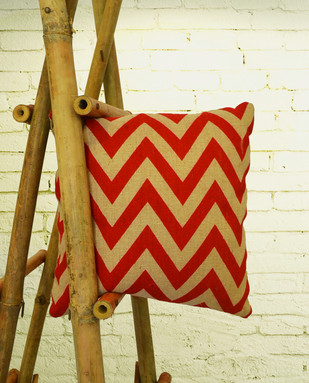 Jute Cotton Chevron Pattern Red Cushion Cover Cushion By The House of Loom