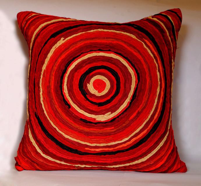 Katran Cushion : Red Cushion Cover By Sahil & Sarthak