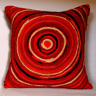 Katran Cushion : Red Cushion Cover By Sahil & Sarthak