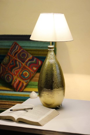 Drop Table Lamp by Sahil & Sarthak, Contemporary, Traditional Table Lamp, Brass, Beige color