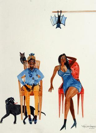 Think Before You speak by Rajdev Nayak , Impressionism Painting, Acrylic & Ink on Paper, Beige color