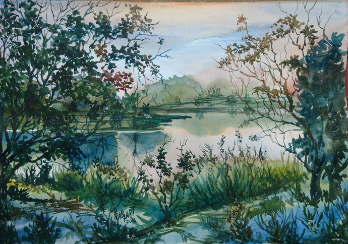 Landscape 4 by Prabhakaran, Impressionism Painting, Watercolor on Paper, Green color