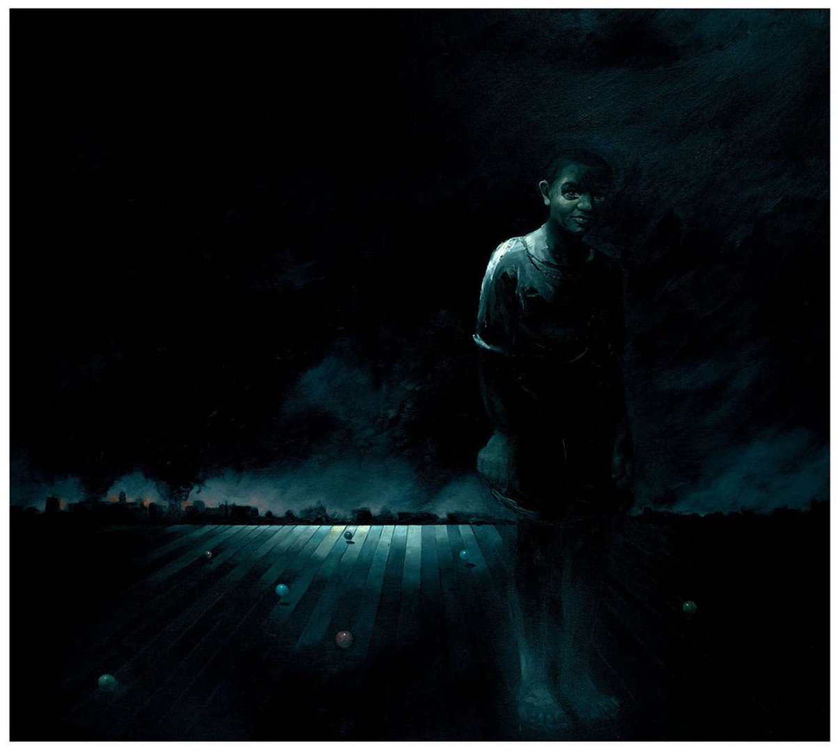 Left Behind by Dibyendu Bhadra, Impressionism Painting, Oil on Canvas, Black color