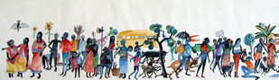 Life in Metro 1 by Rajdev Nayak , Impressionism Painting, Acrylic on Paper, Gray color