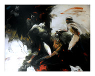 the Show Must Go On by Dibyendu Bhadra, Impressionism Painting, Oil on Canvas, Gray color