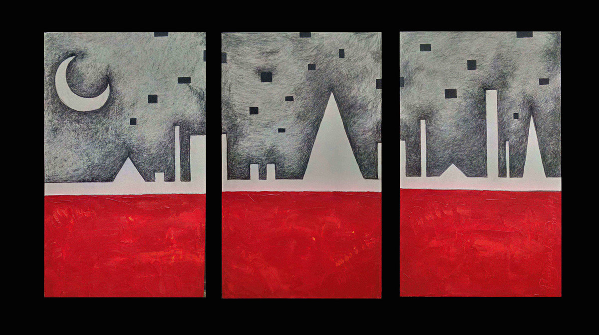 Urban Moon by Priyanka Dua, Geometrical Painting, Mixed Media on Canvas, Gray color