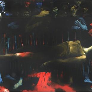 Visha by Dibyendu Bhadra, Impressionism Painting, Oil on Canvas, Gray color