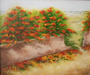 Gulmohar by Kajal Nalwa, Impressionism Painting, Oil on Canvas, Brown color