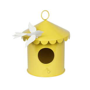 ELAN BIRD HOUSE ROUND- YELLOW GLOSSY WITH IVORY BIRDIE Garden Decor By living-with-elan