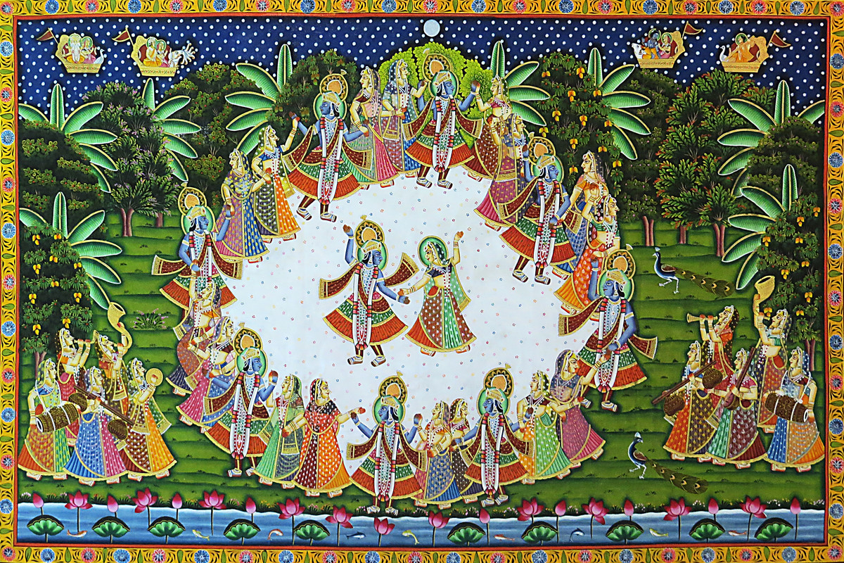 Pichwai Painting by Unknown Artist, Folk Painting, Stone Colour on Cloth, Green color