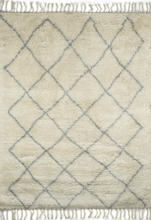 Imperial Knots Ivory Morroccan Handknotted Carpet by Imperial Knots, Contemporary Carpet and Rug, Wool, Beige color