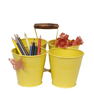 ELAN FOUR BUCKET CADDY-YELLOW GLOSSY115C Stationery By living-with-elan