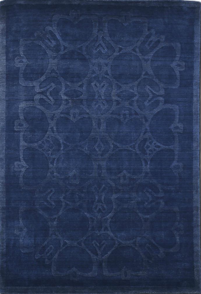 Imperial Knots Blue Modern Handloom Carpet Carpet and Rug By Imperial Knots