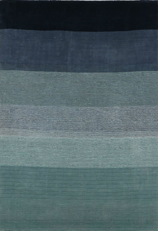 Imperial Knots Blue Ombre Stripes Handloom Carpet Carpet and Rug By Imperial Knots