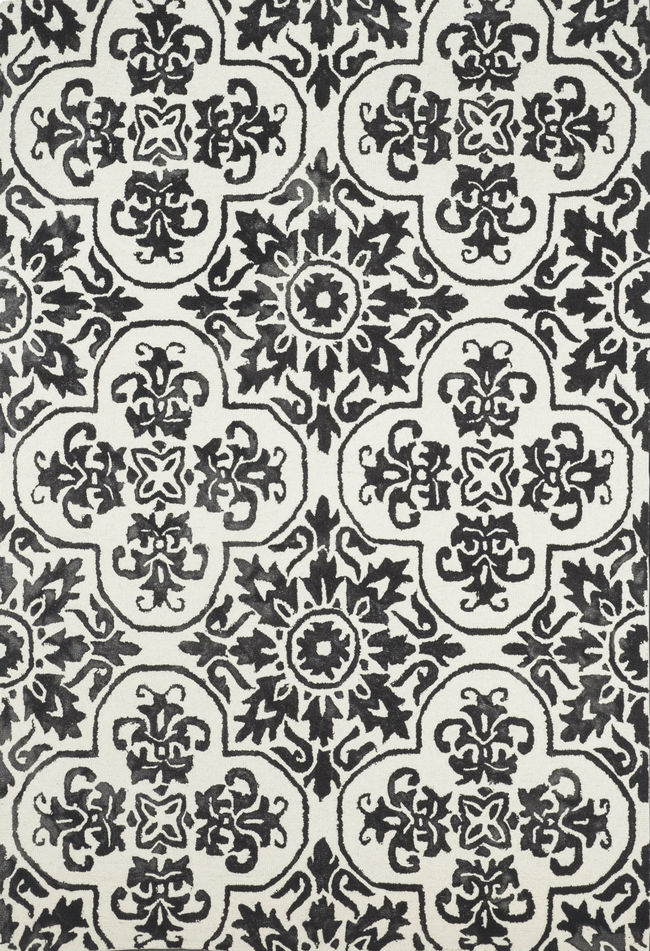 Imperial Knots Black Ivory Floral Handtufted Carpet Carpet and Rug By Imperial Knots