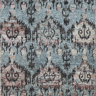 Imperial Knots Blue Ikat Handknotted Carpet Carpet and Rug By Imperial Knots