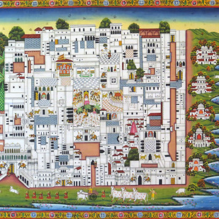 Pichwai Painting by Unknown Artist, Folk Painting, Stone Colour on Cloth, Beige color
