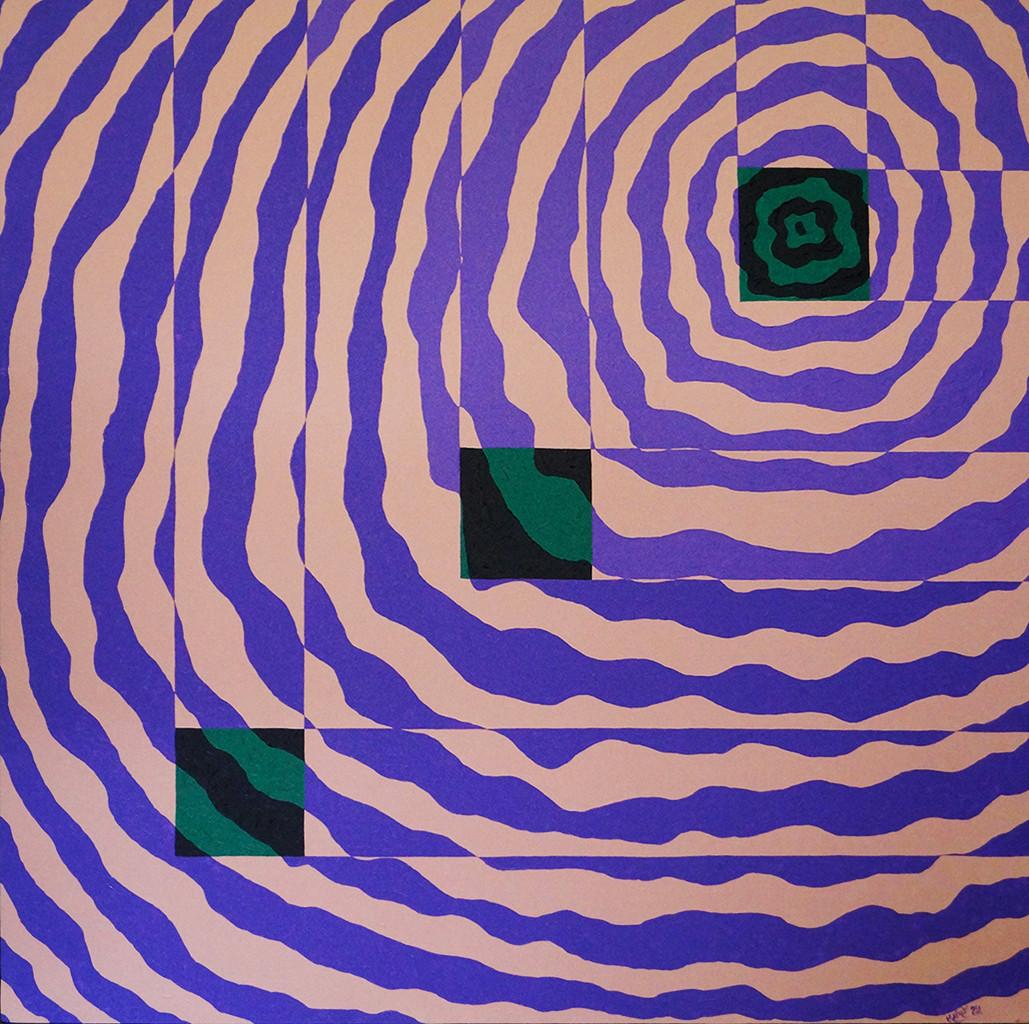 Impetus IV by Srushti Rao, Geometrical Painting, Acrylic on Canvas, Purple color