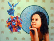 A DREAMY GLIMPSE by Amarendra Maharana , Decorative Painting, Acrylic on Canvas, Cyan color
