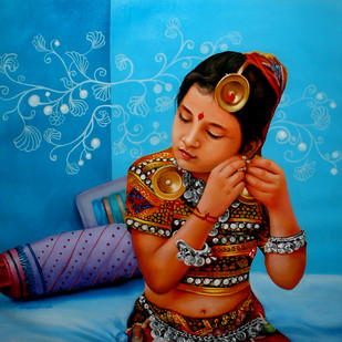 Shringaar by Amarendra Maharana , Realism Painting, Acrylic on Canvas, Blue color