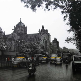 VT In Mumbai by Yuvraj Patil, Impressionism Drawing, Charcoal on Canvas, Gray color
