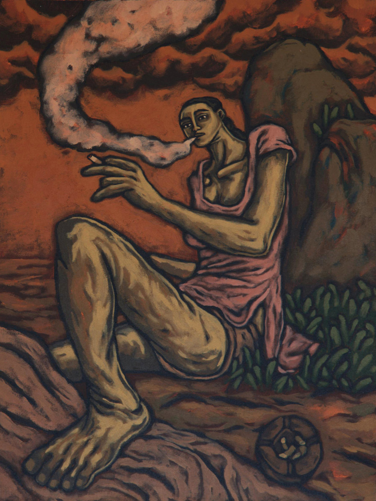 Momentary Eternity by Nitin Kushwaha, Expressionism Painting, Acrylic on Canvas, Brown color