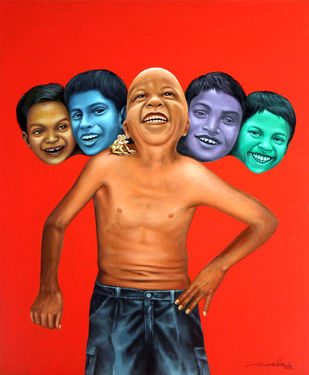 Giggling by Amarendra Maharana , Pop Art Painting, Acrylic on Canvas, Red color