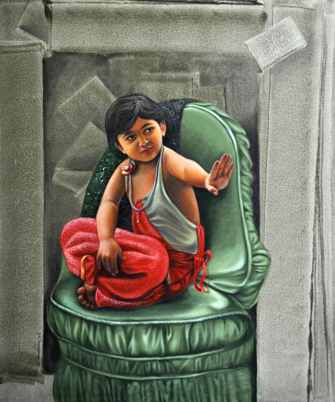 Little Queen by Amarendra Maharana , Pop Art Painting, Acrylic on Canvas, Green color