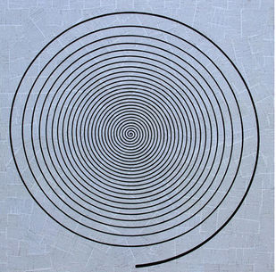 Conversation by Yuvan Bothi Sathuvar, Op Art Painting, Mixed Media on Board, Cyan color