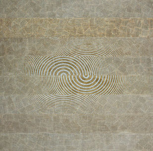 Ripple by Yuvan Bothi Sathuvar, Op Art Painting, Mixed Media on Board, Beige color