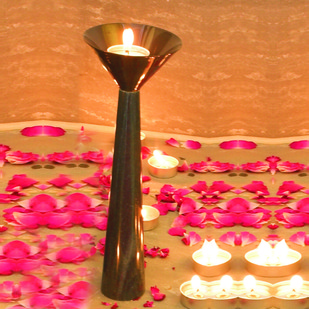 Cu Stone Candlestand M-B Candle Stand By AnanTaya