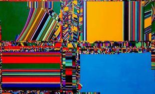 Festivity Of Life I by Yuvan Bothi Sathuvar, Op Art Painting, Mixed Media on Board, Blue color
