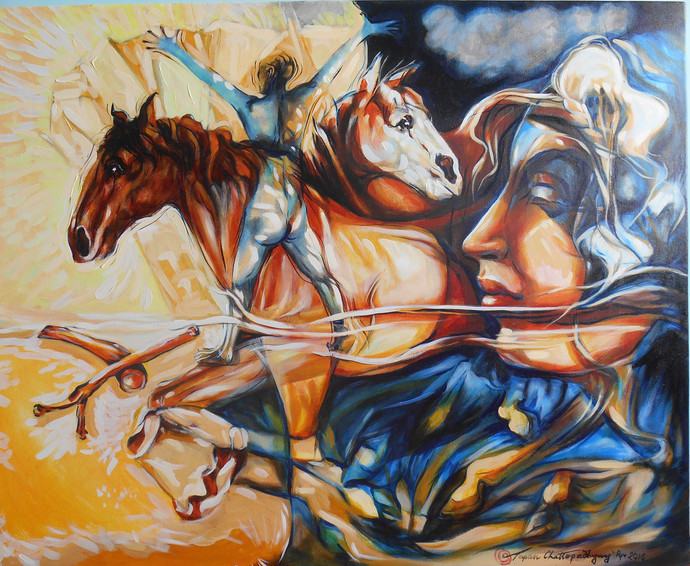 Disgrace by Tapan Chattopadhyay, Expressionism Painting, Acrylic on Canvas, Brown color