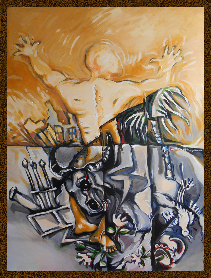 My Lost World by Tapan Chattopadhyay, Expressionism Painting, Acrylic on Canvas, Brown color