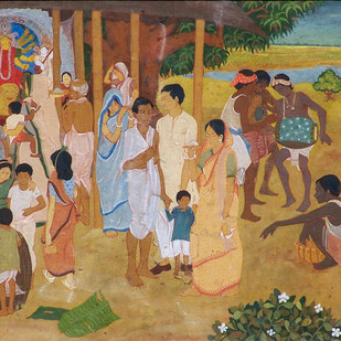 Durga Puja by Radhacharan Bagchi, Impressionism Painting, Gouache on Board, Brown color