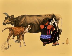 Maa I Am Hungry by Prittam Priyalochan, Pop Art Painting, Mixed Media on Canvas, Beige color
