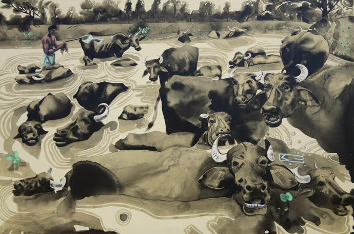 Buffaloes Showering by Prittam Priyalochan, Pop Art Painting, Mixed Media on Canvas, Brown color