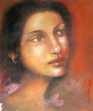 Radha 2 by Suhas Roy, Impressionism Painting, Oil Pastel on Canvas, Brown color
