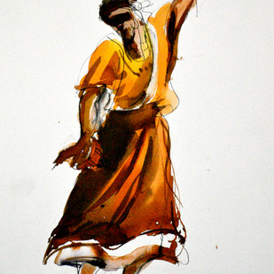 Bawl 1 by Dibyendu Bhadra, Impressionism Painting, Watercolor on Paper, Gray color