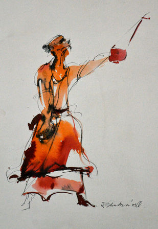 Bawl 2 by Dibyendu Bhadra, Impressionism Painting, Watercolor on Paper, Gray color