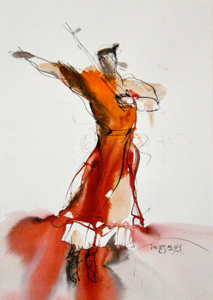 Bawl 4 by Dibyendu Bhadra, Impressionism Painting, Watercolor on Paper, Gray color