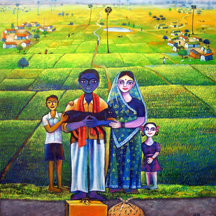 My Village 5 by SANJU DAS, Impressionism Painting, Acrylic on Canvas,