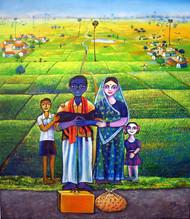 My Village 5 by SANJU DAS, Impressionism Painting, Acrylic on Canvas,