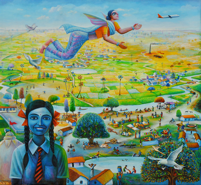 Udaan by SANJU DAS, Fantasy Painting, Acrylic on Canvas, Green color