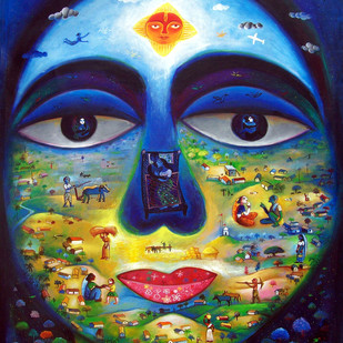 My Village 6 by SANJU DAS, Fantasy Painting, Acrylic on Canvas,