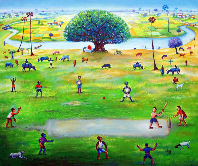 My Village 4 by SANJU DAS, Impressionism Painting, Acrylic on Canvas,